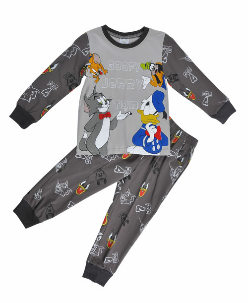 Grey Long Sleeved Boys Pajama Set - Cat & Mouse print