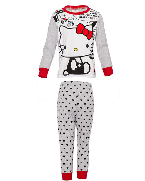 Girls Pajama Set - Grey Top & pants - Hello Kitty Print