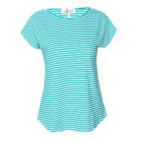 Green-White Striped Cotton Maternity / Nursing Top