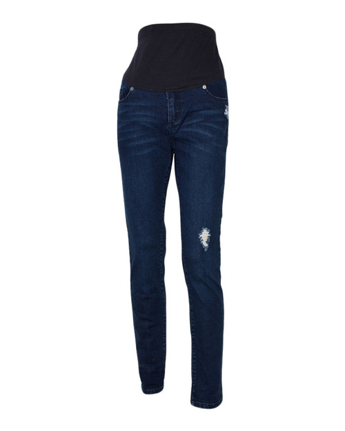 Skinny Leg Denim Jeans for Maternity Navy Blue