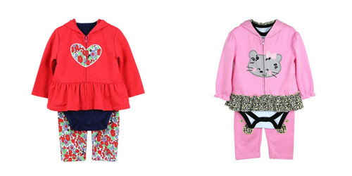 Baby 3 Piece Romper Set Zipper Design Girls