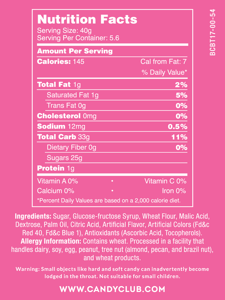 Blazberry Belts - Nutritional Information