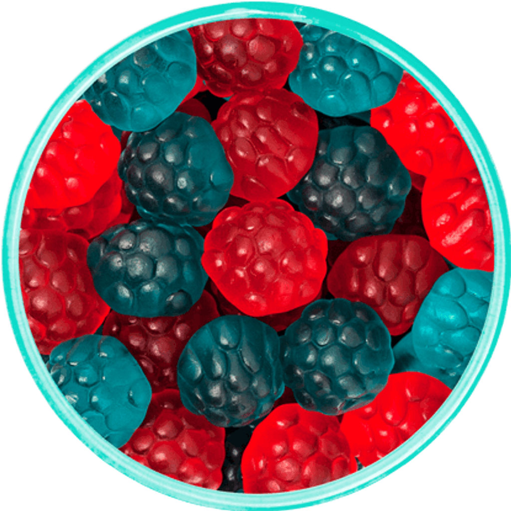 Red & Blue Raspberry Gummies - Detailed View