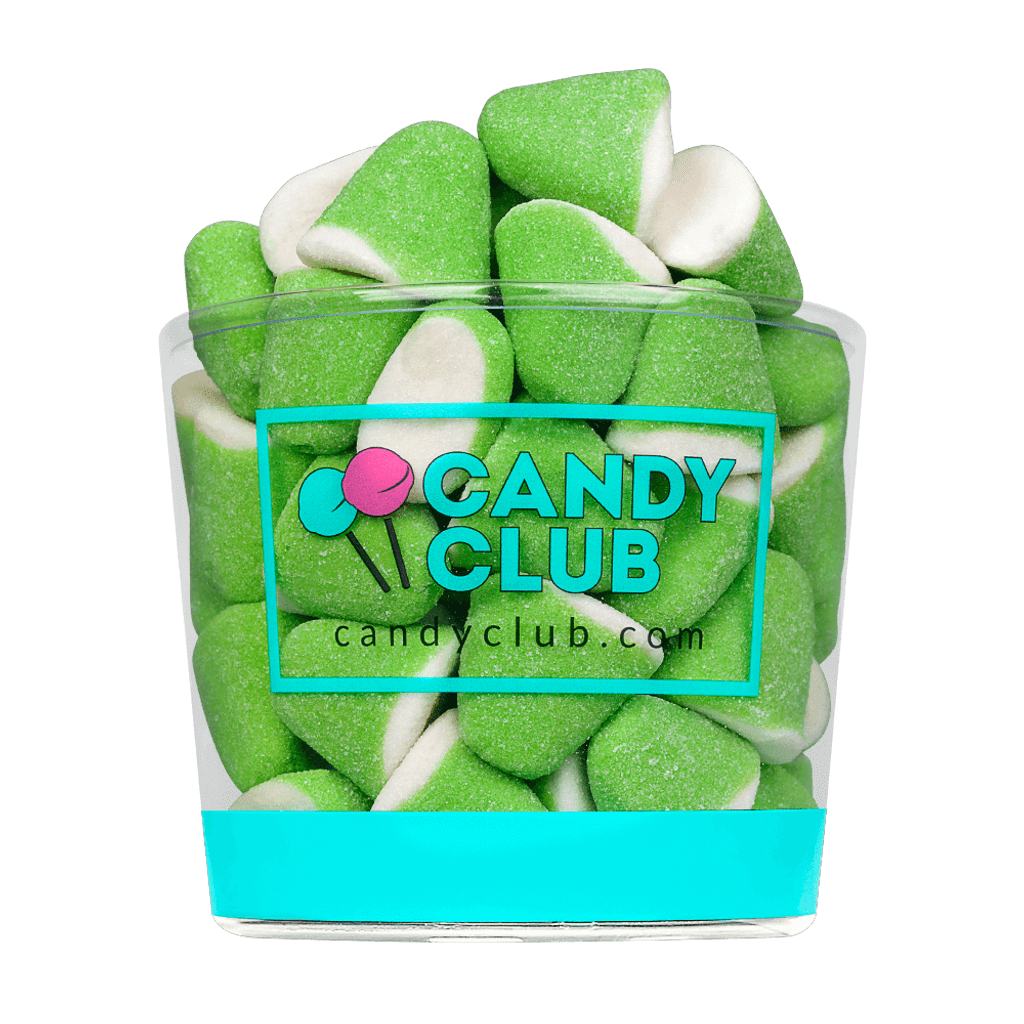 A cup of Green Apple Marshmallow Drops candy