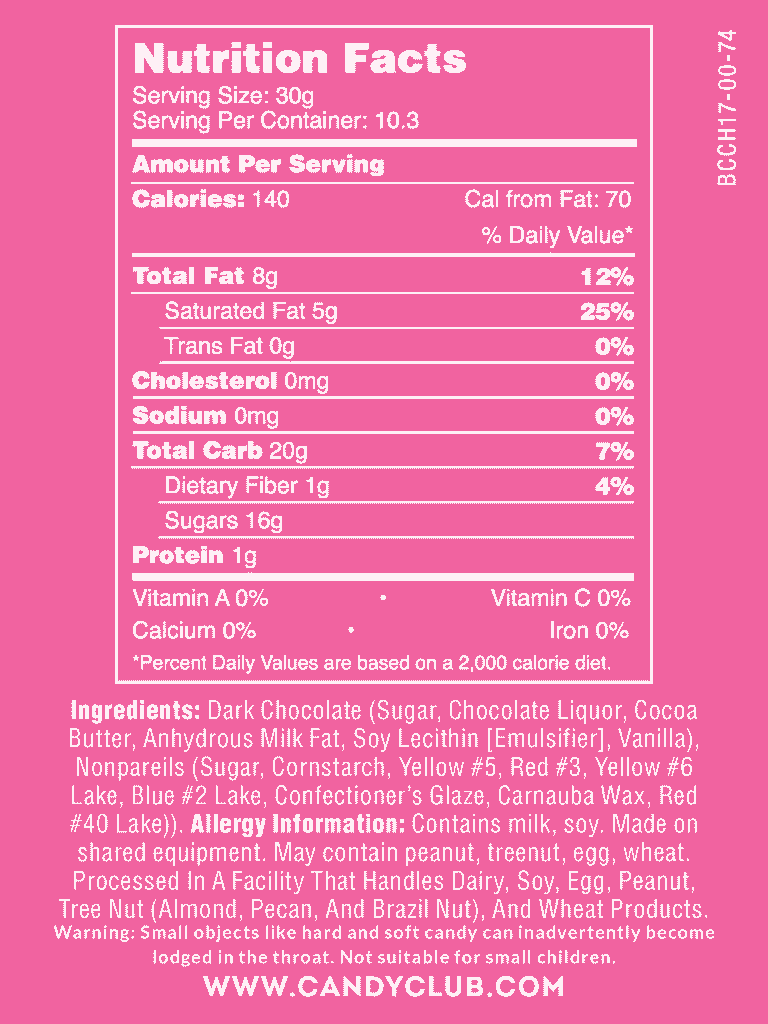 Dark Chocolate Fall Nonpareils - Nutritional Information