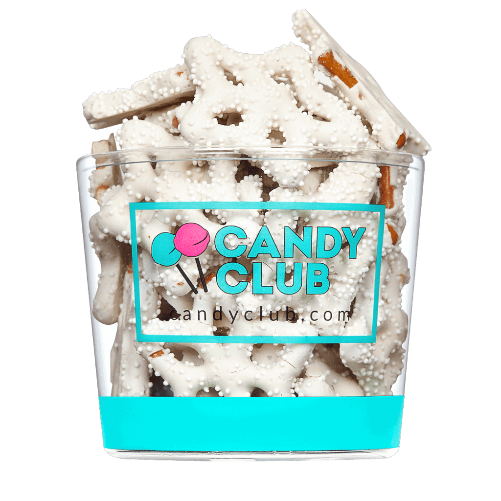 A cup of Snowflake Pretzels candy