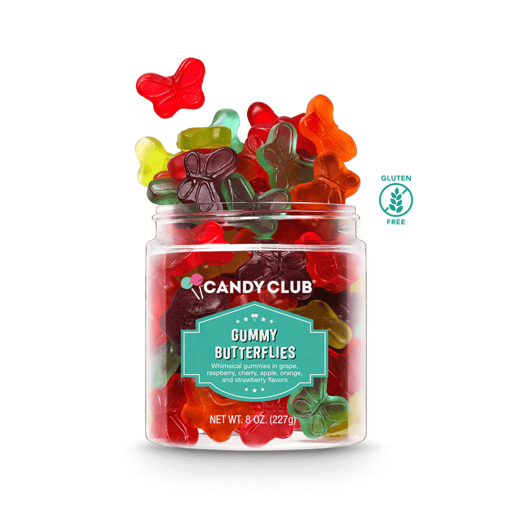 A cup of Gummy Butterflies candy