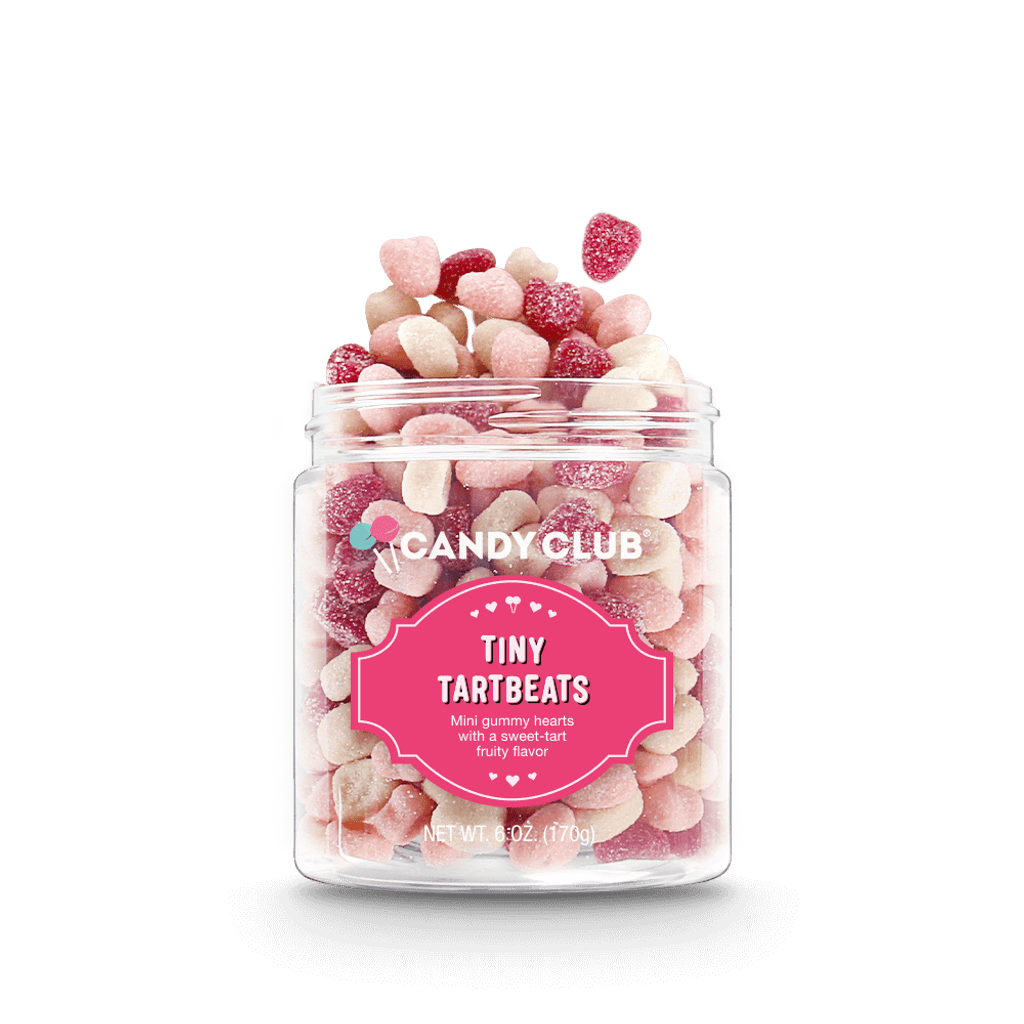 A cup of Tiny Tartbeats candy