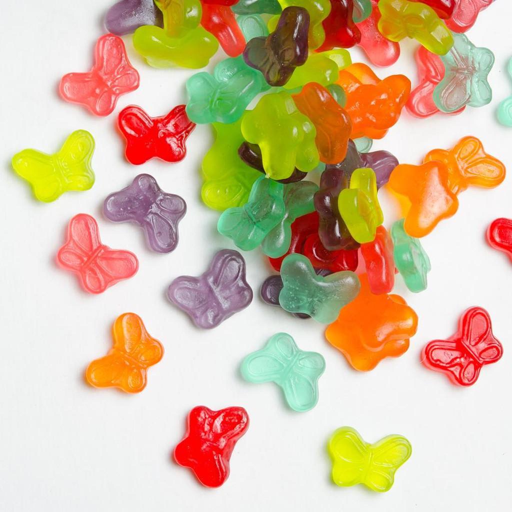 Close up of Flutter Friends Candy Club's gummy butterflies.