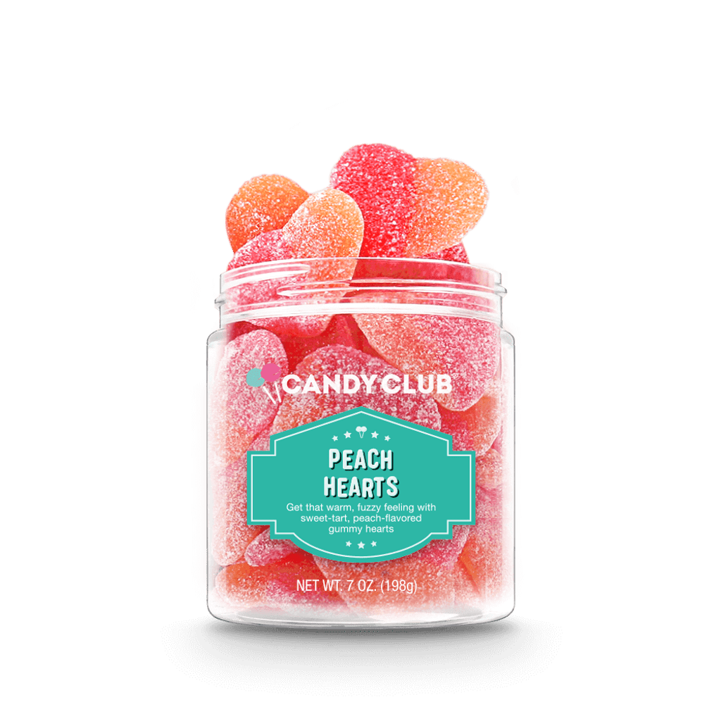 A cup of Peach Hearts candy