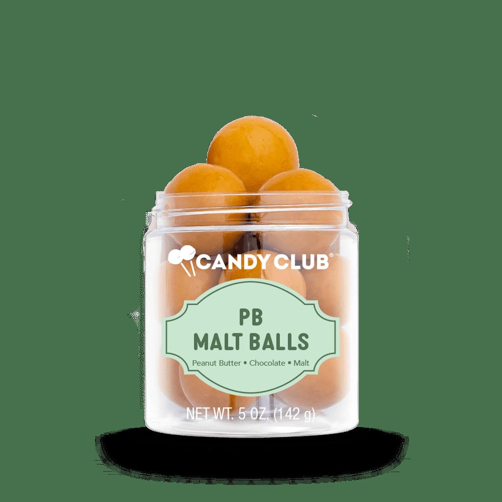 A cup of PB Malt Balls candy