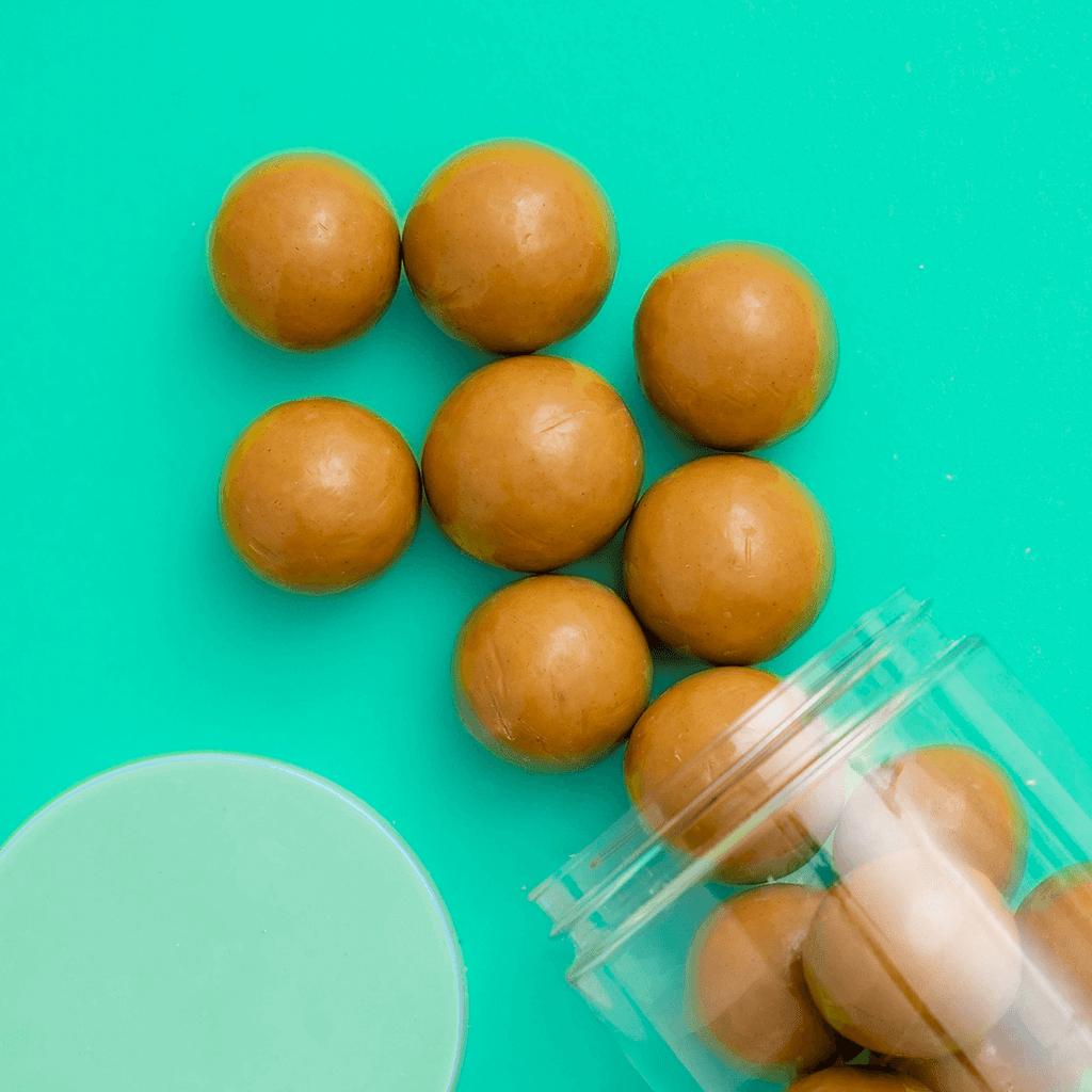 PB Malt Balls candy detailed spill shot