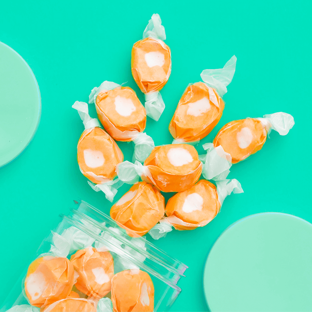 Creamsicle Taffy candy detailed spill shot
