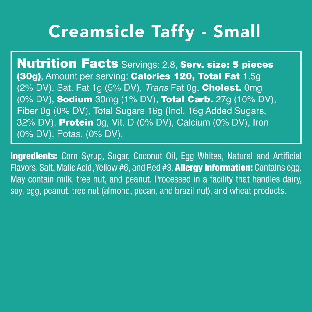 Creamsicle Taffy nutrition facts