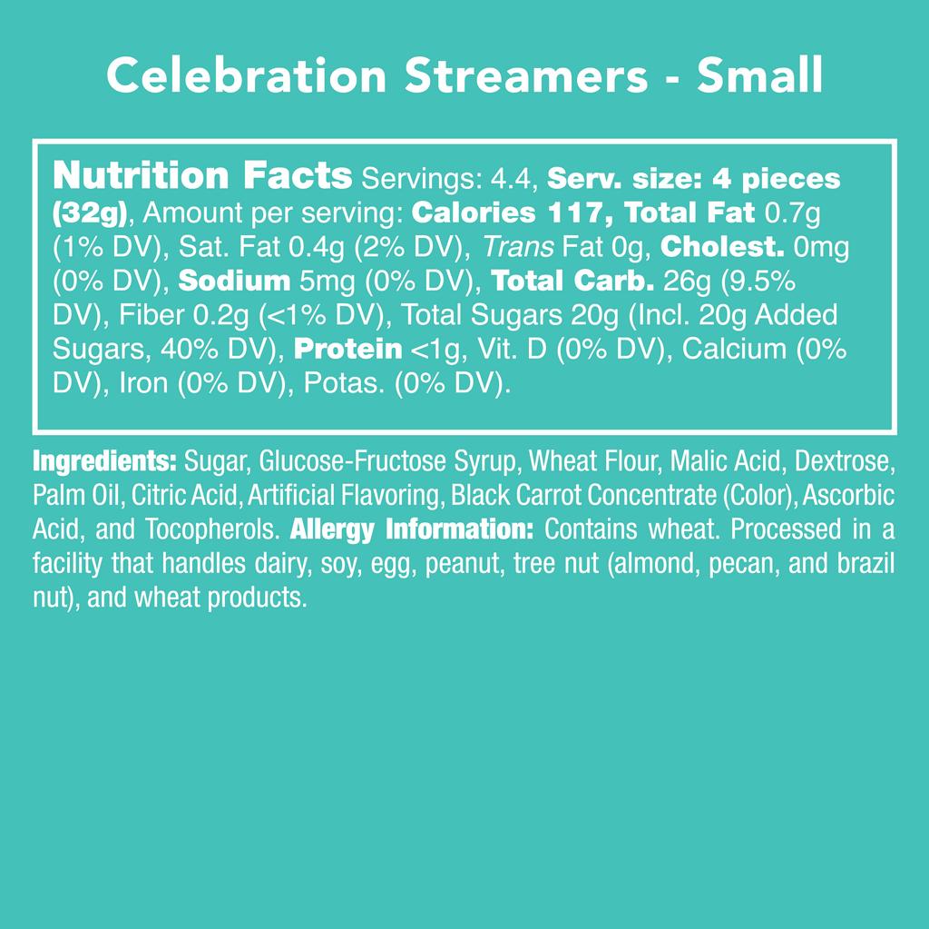 Celebration Streamers - Nutritional Information