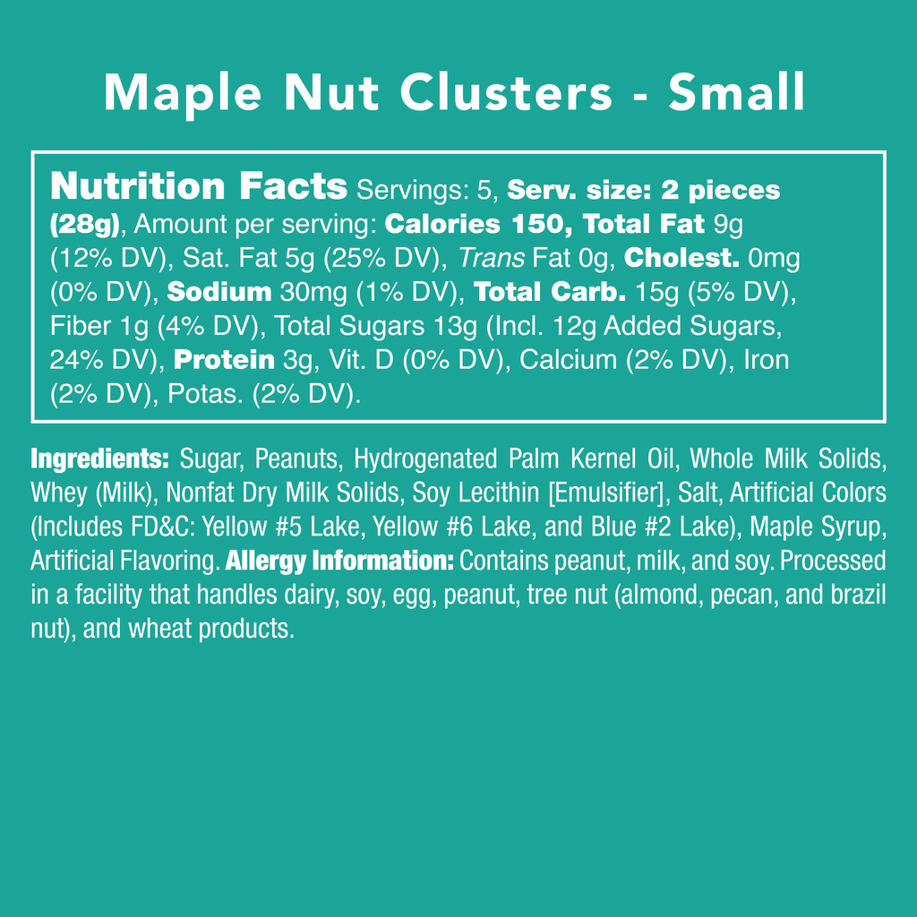 Maple Nut Clusters - Nutritional Information