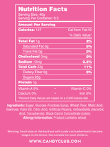 Wild Cherry Belts - Nutritional Information