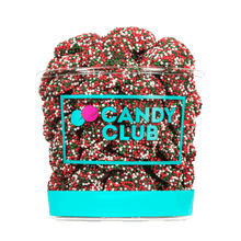A cup of Dark Chocolate Holiday Nonpareils candy