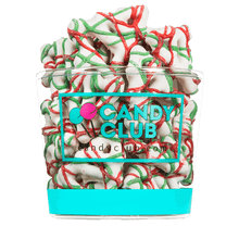 A cup of Christmas Tree Pretzels candy