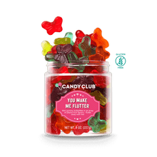 A cup of You Make Me Flutter candy