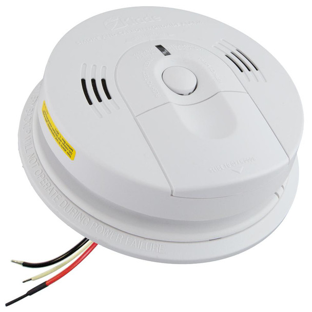 Hardwire Smoke and Carbon Monoxide Combination Detector with AA Battery Backup, Voice Alarm, and Ionization Sensor - KN-COSM-IBA