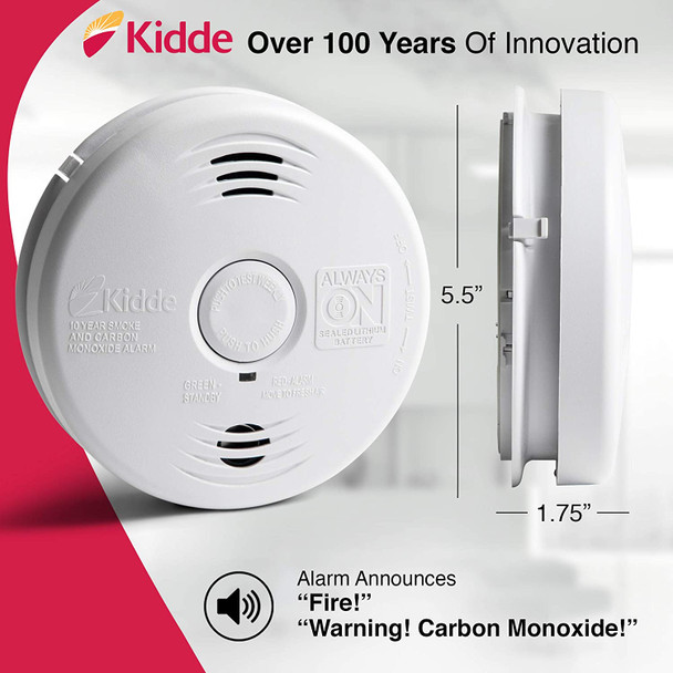 Kidde Hardwired w/10 Year Lithium Battery Backup  Smoke and Carbon Monoxide Detector Alarm with Voice Warning - i12010SCO