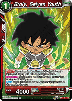 BT11-018UC Broly, Saiyan Youth Prerelease Stamp Foil