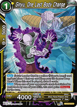 BT12-105RPS Ginyu, One Last Body Change Prerelease Stamp Foil