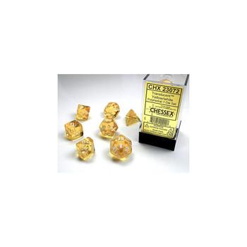 CHX 23072 Translucent Polyhedral Yellow/White 7-Die Set