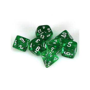 CHX 23075 Translucent Polyhedral Green/White 7-Die Set