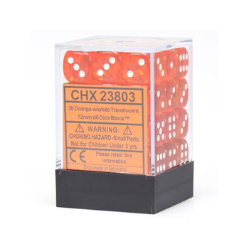 CHX 23803 Translucent 12mm d6 Orange/White Block (36)