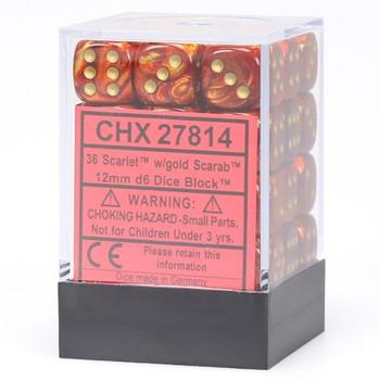 CHX 27814 Scarab 12mm d6 Scarlet/Gold Block (36)