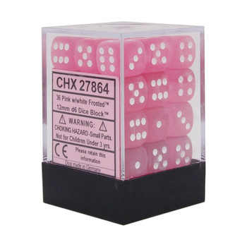CHX 27864 Frosted 12mm d6 Pink/White Block (36)