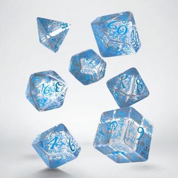 Q Workshop Elvish Translucent & blue Dice Set 7