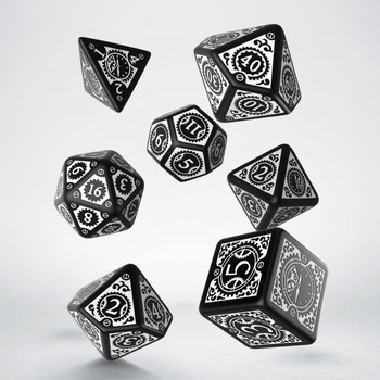 Q Workshop Steampunk Black & White Clockwork Dice Set 7