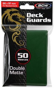 BCW Deck Protectors Standard Matte Green (66mm x 91mm) (50 Sleeves Per Pack)