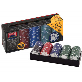Bicycle 8 Gram Clay Poker Chip Set 100 Count with Casino Tray