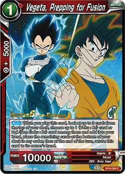 BT6-009C Vegeta, Prepping for Fusion Prerelease Stamp