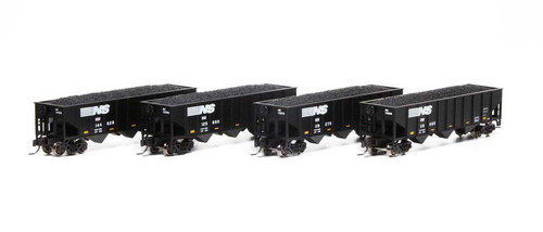 Athearn #ATH17625 N 40' 3 Bay Ribbed Side Open Hopper 4 Pack