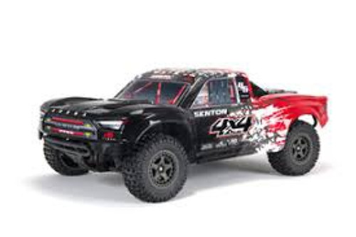 ARRMA #ARA4203V3T1 Ver.3 Senton 4X4 Mega 550 Brushed Short Course Truck-Red/Black