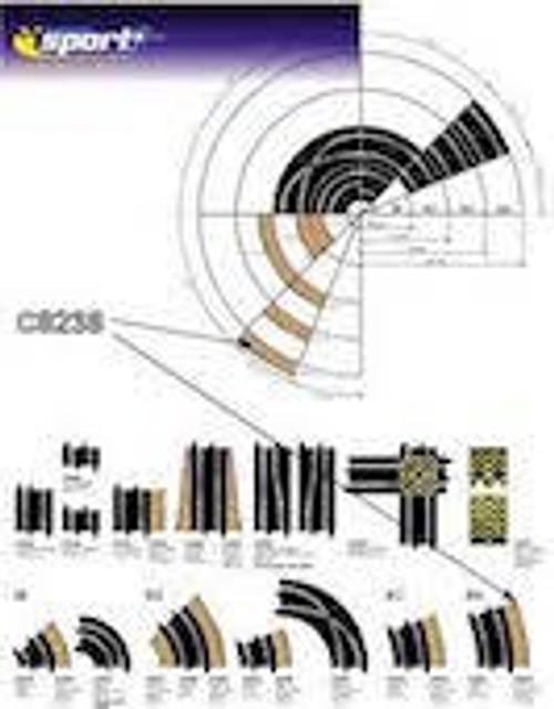 Scalextric #C8238 Radius 4 Curve Outer Borders 4pcs