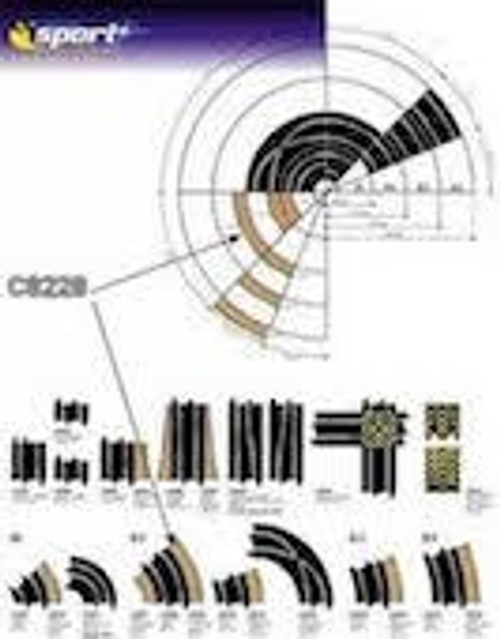 Scalextric #C8228 Radius 2 Curve Outer Borders 4pcs