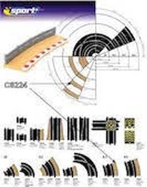 Scalextric #C8224 Radius 3 Curve Outer Border 4pcs