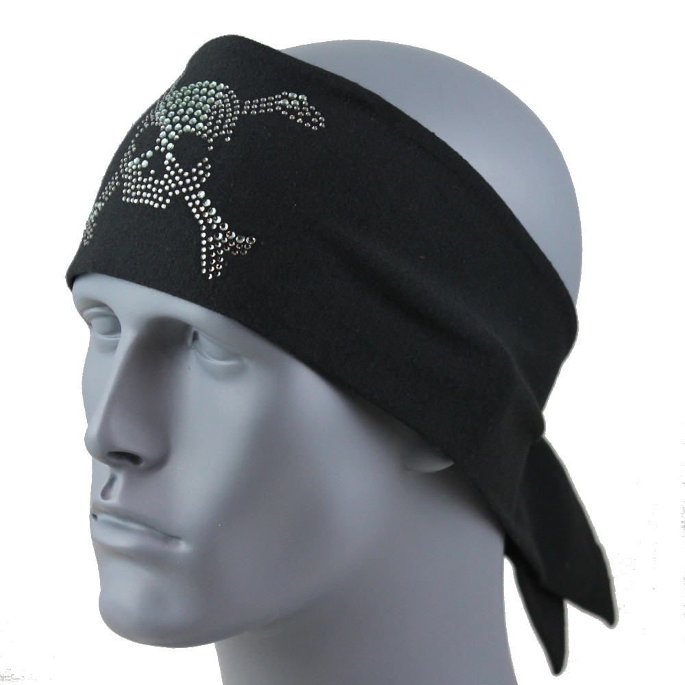 Black Diamond Rhinestone Skull & Crossbones Stretch HeadBand 1