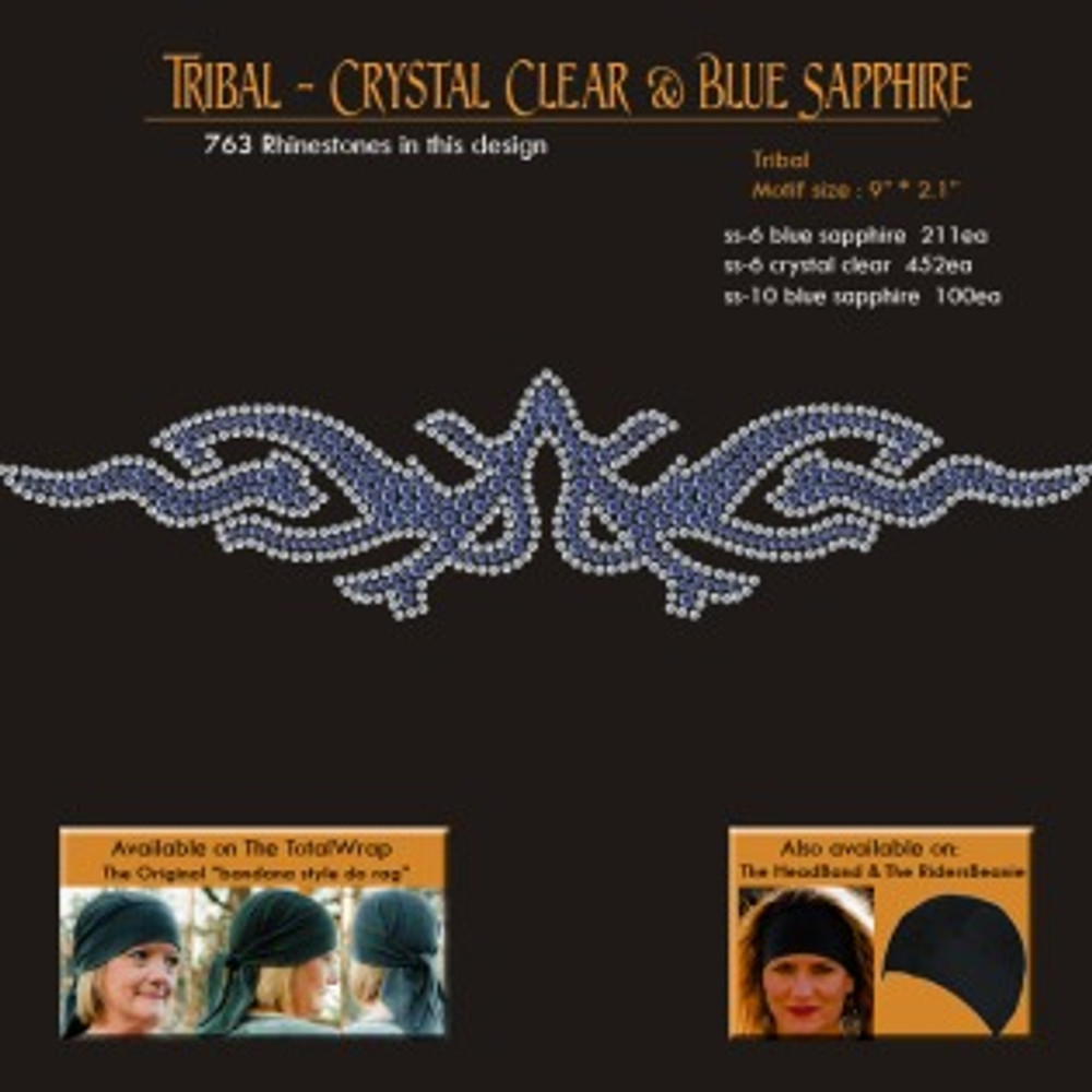 Clear & Blue Sapphire Rhinestone Black Stretch TotalWrap