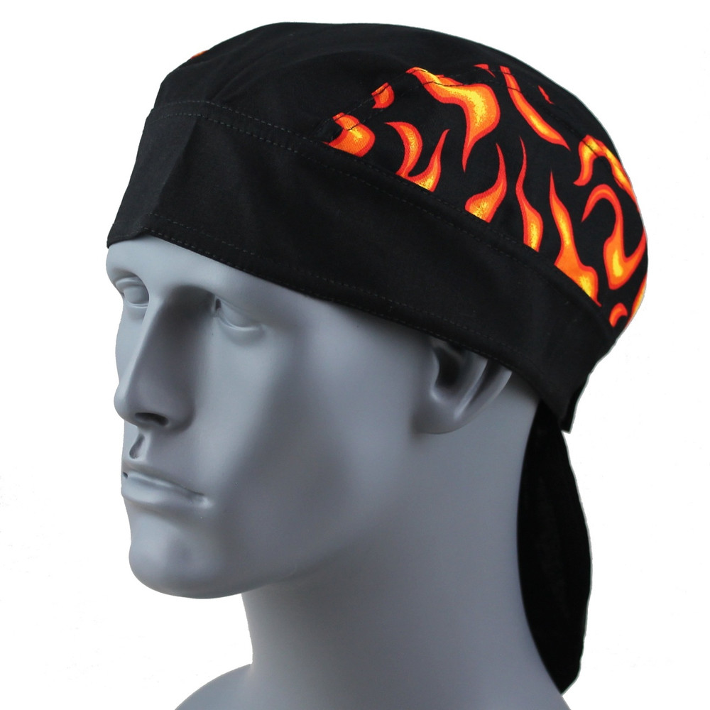 Black with Orange Flames - Velcro Closure