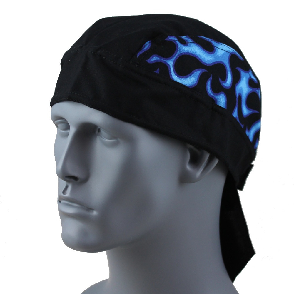 Black with Blue Flames - Velcro Closure