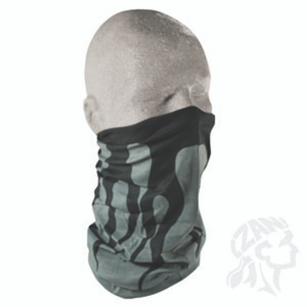 Motley Tube, 100% Polyester, Gray w/Black FlameMultifunctional Headwear