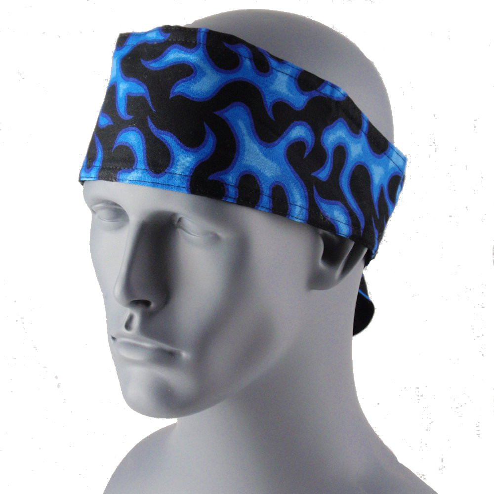 Blue Flames Head Wrap With Hook & Loop Strap