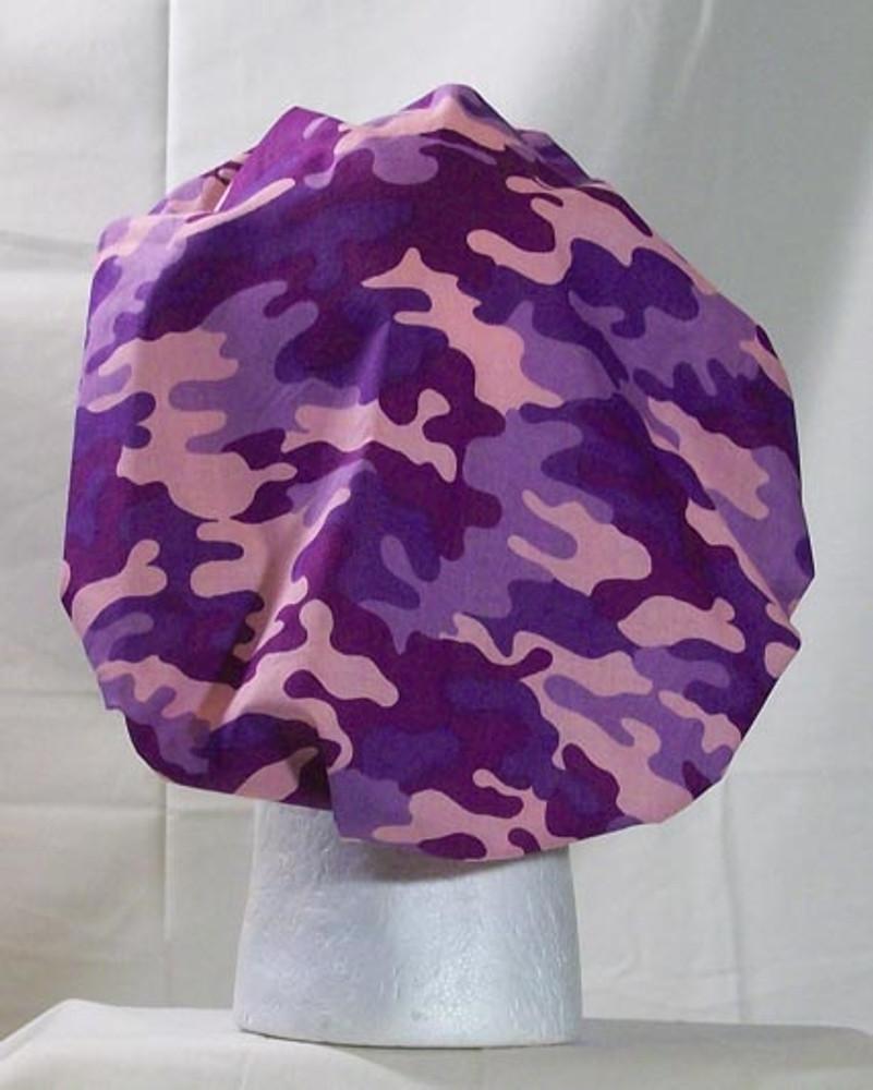 Bouffant Style Scrub Cap - Purple Camo - By NoMoreKnots